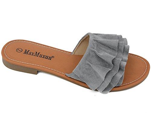 MaxMuxun Grey Women Shoes Suede Ruffle Flat Sandals Comfort Slides Size 9 - Ruffle Front Sandal