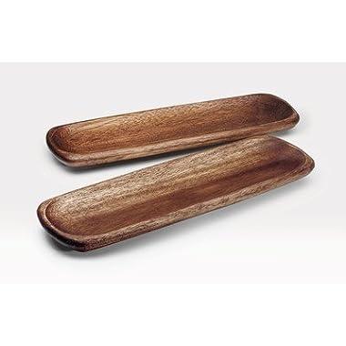 Noritake Kona Wood 12-Inch Rectangular Platter, Set of 2