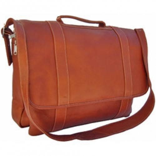 Piel Leather Traditional Flap Portfolio, Saddle, One Size by Piel Leather