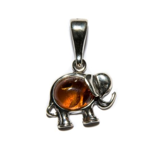 (Honey Amber Sterling Silver Small Cute Elephant Pendant)