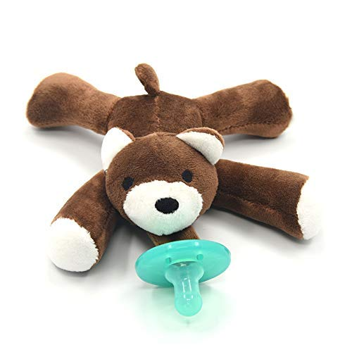 Artisan Trade & Co. Soft Plush Animal - Infant Silicone Pacifier - Bear - Boys and Girls