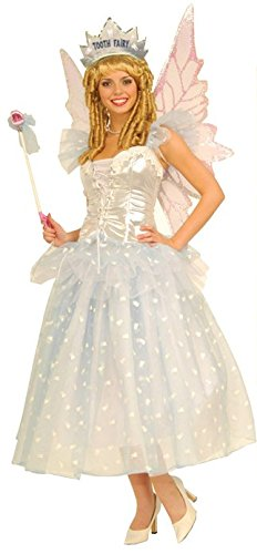 [Forum Fairy Tales Fashions Tooth Fairy Costume, White, Standard (For Adults One size fits up to size] (Fairy Halloween Costumes For Adults)