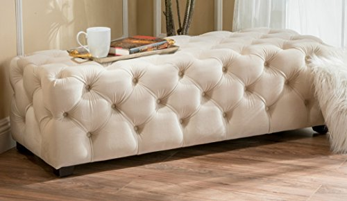 Velvet Button Stool (Contemporary Ivory Button Tufted Velvet Soft Rectangle Solid Ottoman Foot Stool Bench)
