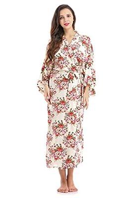 Lilywei Women's Floral Print Kimono Long Robe Cotton Bride Gift Wedding Bridesmaids Dress Ankle Length