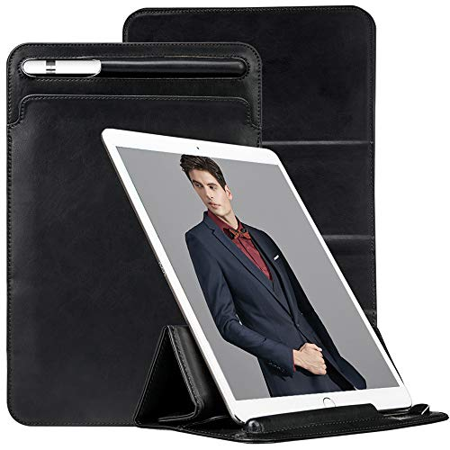 TOOVREN Trifold Case Sleeve for New iPad Air 10.5'' 3rd Generation/iPad Pro 10.5'' 2017 / New iPad 10.2'' 2019 with Apple Pencil Holder Leather PU Slim Protective Microfiber Pouch