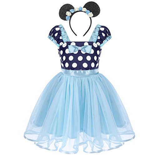 Baby Girls Minnie Polka Dots Princess Ballet Tutu Dress Birthday Party Pageant Dress up Costume Outfits with Headband X# Blue+Flower Headband 4-5 Years