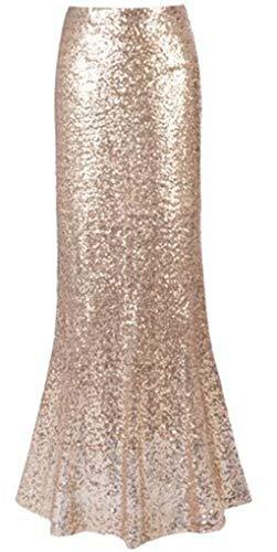 Meet Edge Women's Sexy Maxi Sequin Skirts Mermaid Long Skirts S Gold ()