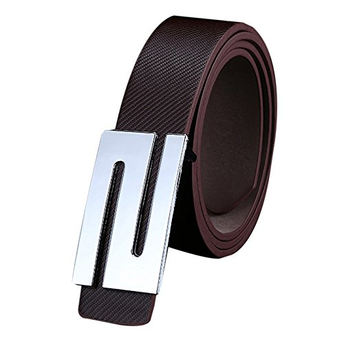Alonea® Men and Women Casual Square Buckle Waist Strap Sports Knit Canvas Belts (Coffee) (Casual Square Buckle)