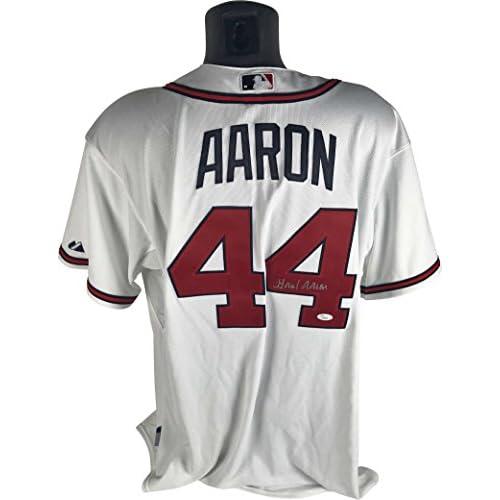new style 13d96 b60e5 Hank Aaron Signed Autographed Atlanta Braves Jersey JSA ...