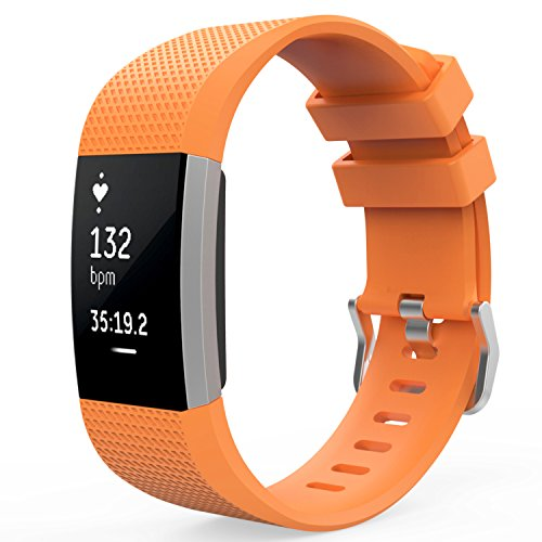 MoKo Fitbit Charge 2 Band, Soft Silicone Adjustable Replacement Sport Strap Band for Fitbit Charge 2 Heart Rate + Fitness Wristband, Wrist Length 5.70-8.26 (145mm-210mm), ORANGE