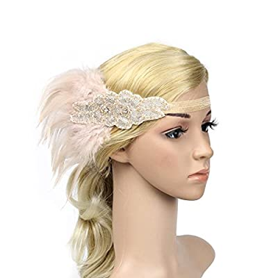 VACIGODEN Retro 1920s Headband Roaring 20s Feather Hair Band Cocktail Party Girls Women