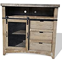 50 Inch Sliding Barn Door Style Rustic Western Antique Distressed Reclaimed Wood Look TV Stand Media Chest Solid Wood Already Assembled (Grey Distressed)