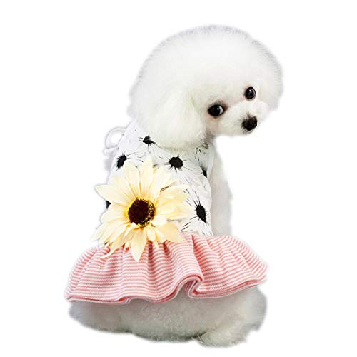 Petea Dog Dress Daisy Flower Gauze Stripe Lace Tutu Dog Dress Vest Apparel Skirt Clothes Pet Puppy Birthday Princess…
