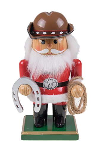 Clever Creations Chubby Santa Claus Cowboy Nutcracker by Wearing Cowboy Hat and Belt Buckle | Holding Horseshoe and Lasso | Perfect for Any Collection | Festive Holiday Decor | 100% -