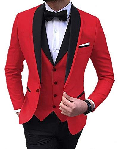 Anshirlisa Mens Fashion Shawl Lapel 3 Pieces Beach Wedding Groom Tuxedo Suits Dinner Party Dresswear Red
