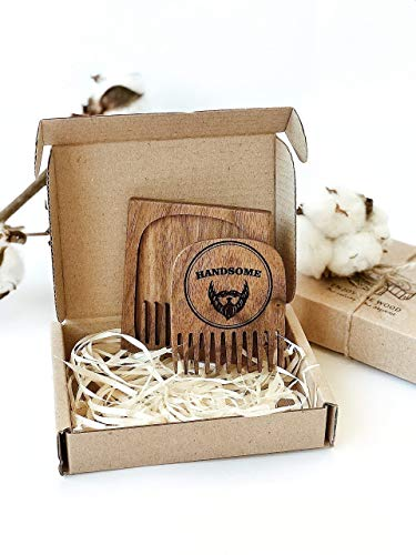 Beard comb wood by Enjoy The Wood Handsome moustache comb in wooden case Anti-Static Wooden Comb for Men Grooming kit Pocket size walnut wenge wood handmade small anniversary gift for husband