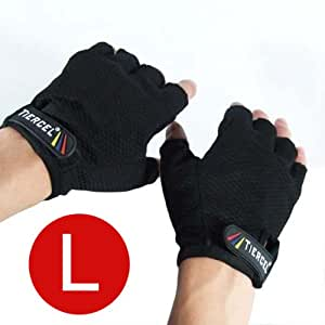 BLACK - Weightlifting gloves womens (for women) SIZE LARGE. Sport gloves for weight lifters. Gym fitness gloves size Large. Exercise gloves for women made with palm weight grip padding. Fingerless gloves - Color Black