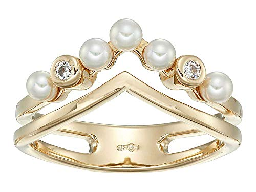 Majorica Women's Arabesque - 3 mm White Round Pearls Ring with CZ in Gold Plated Silver White 7