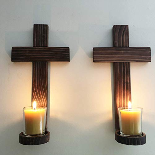 (Hand Crafted Wooden Wall Crosses Votive Candle Holders, Set of 2)