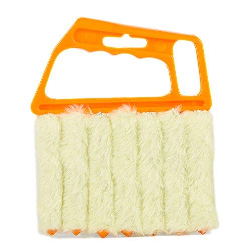 Shutters Window Blind Brush Dust Cleaner Orange with 7 Slat Handheld Household Tool ()