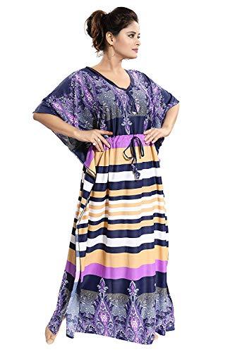 Traditional Deco Storz Satén Serena Gran Rayada Kaftan - Rosa, púrpura y Turquesa: Amazon.es: Ropa y accesorios