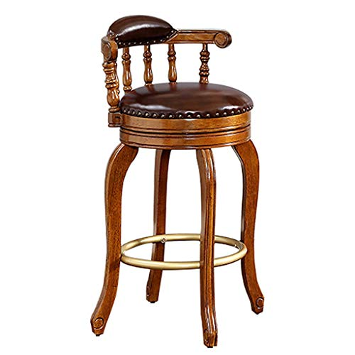 Moolo Bar Stool High Chair Household Bar Chair Lounge Chair Cowhide Backrest Reception Chair Solid Wood Barstool (Size : 73.6cm)