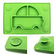 Innerneed One Piece Silicone Baby Placemat Kid Suction Divided Toddler Plate Feeding Plate Tray, Dishwasher Microwave Safe Dining Table/Highchair (Green)