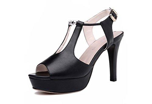 Moolecole - Sandalias de vestir de Piel Vuelta para mujer negro negro negro