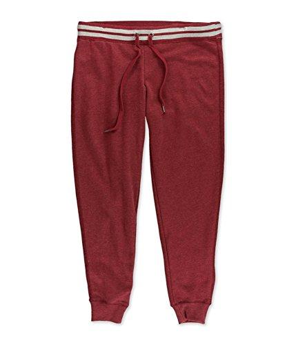 Aeropostale Womens Striped Fleece Casual Jogger Pants, Red, Medium