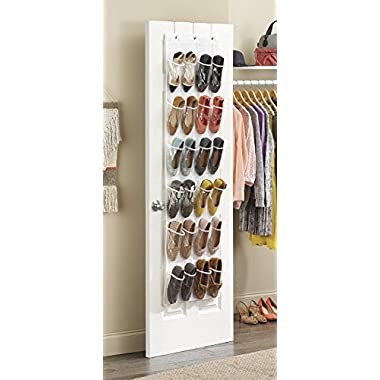 Whitmor 6044-13-CTF White Crystal Collection Over-The-Door Shoe Organizer,  Clear