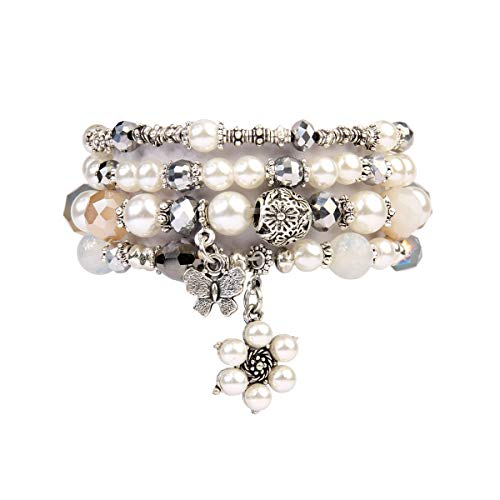 RIAH FASHION Bohemian Multi Strand Faux Pearl Bracelets - Layer Beaded Statement Stretch Lovely Crystal Charm Bangles Flower, Star, Heart (Flower & Butterfly - Natural)