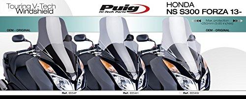 Smoke Medium Puig 6554H Windshield Touring for Maxiscooter Honda NS S300 Forza 2013-2015