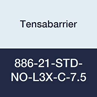 38 Height 7.5 Length Light Blue Belt 2.5 Wide 2 Wide Recycled Rubber Tensabarrier 886-21-STD-NO-L3X-C-7.5 Red Post 16 Length