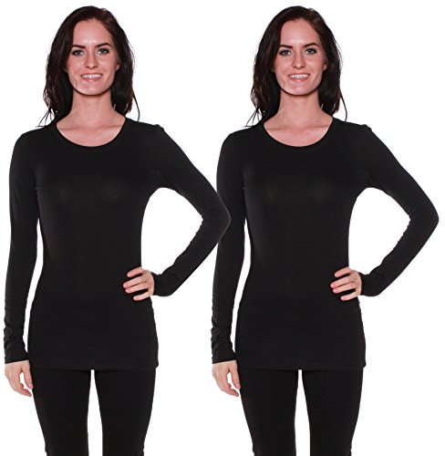 Active Basic Athletic Fitted Plain Long Sleeves Round Crew Neck T Shirt Top (2 Pack) Black, Black-Medium