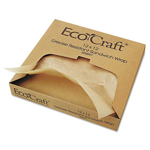 Bagcraft Papercon EcoCraft Grease-Resistant Paper Wrap/Liner, 12 x 12, 1000/Box - BGC300897