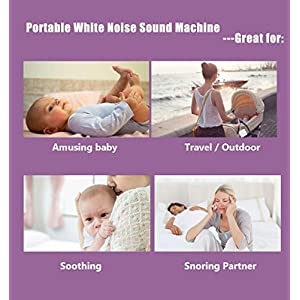 White Noise Machine for Sleeping, Baby Sound Machine, Portable and Rechargeable On-the-Go Infant Soother, with Night Light and timer, 9 Natural and Soothing Sounds, Lullabies, for Home, Office, Travel