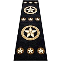 Champion Rugs Texas Western Star Rustic Cowboy Decor Area Rug Black (2 Feet X 7 Feet Runner)