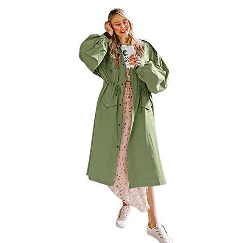 Hiver Manteau Dames Debout vent Coupe Femmes Sodial Grand Cardigan Automne souris Vert Chauve Plus Col Large S Taille Mode Pour Lache Long Nouvelle Kaki Manches wH51qHa4