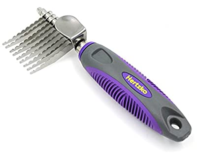 Dematting Comb By Hertzko - Long Blades with Safety Edges - Great for Cutting and Removing Dead, Matted or Knotted Hair