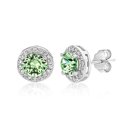 Peridot Ring Crystal Swarovski (Devin Rose Women's Round Halo Stud Gift Earrings Made With Swarovski Crystals in Sterling Silver (Peridot Crystal Imitation August Birthstone))
