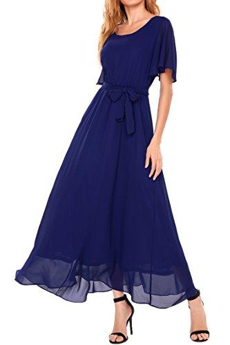 Beyove Women's Chiffon Short Sleeve O Neck Plus Size Flare Flowy Long Maxi Bridesmaid Formal Dress