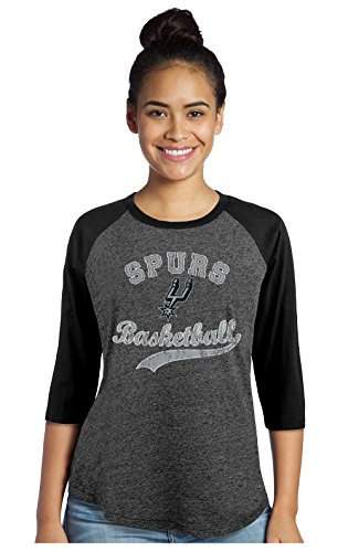Majestic Athletic NBA San Antonio Spurs Women's Premium Triblend 3/4 Sleeve Raglan, X-Small, Black