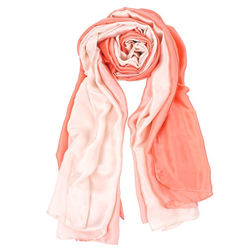 Cackss Womens fashion Silk Scarf Long Shawl Gradient - Pink Gradient
