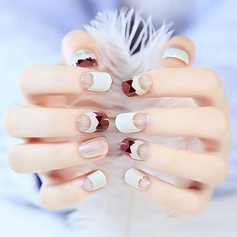 yunail 24pcs Señor Tie transparente corta uñas transparente rojo vino blanco ovalado para uñas postizas en acrílico caja con pegamento adhesivo: Amazon.es: ...