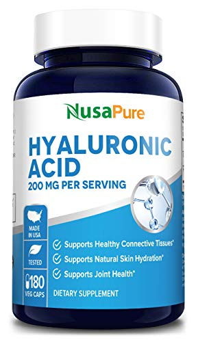 : Hyaluronic Acid 200mg 180 Veggie Capsules (Non-GMO & Gluten Free) - Support Healthy Joints - Promote Healthy Skin - 200mg per Serving Extra Sodium 6mg