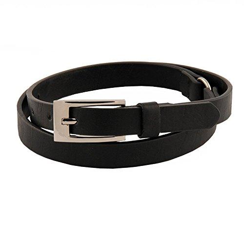 - Womens Ultra Trendy Sleek Faux Leather Skinny Belt Black Large