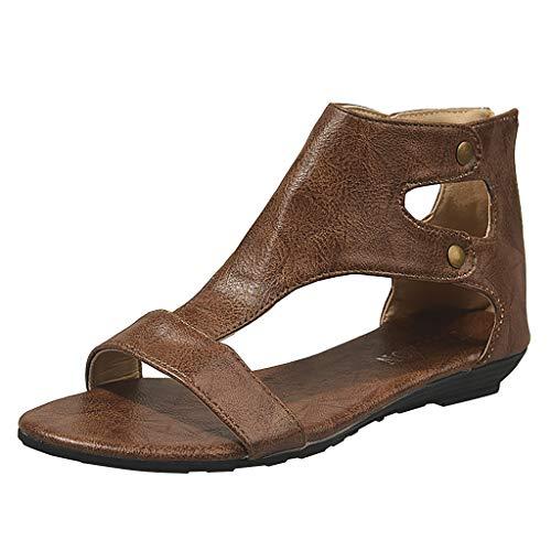Lanhui Ladies Peep Toe Leisure Flat Sandal, Retro Casual Solid Color Roman Fish Mouth Large Size Sandals