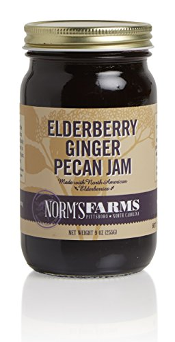 Norm's Farms Delicious and Flavorful Black Elderberry Ginger Pecan Jam, 9 Ounce Jar