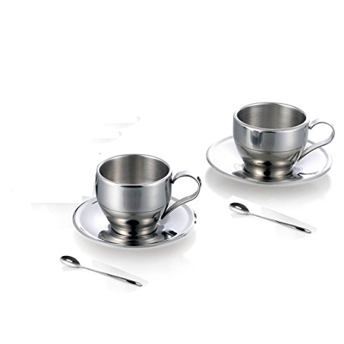 Jasni Stainless Steel Coffee Cup Coffee Mugs Espresso Cups and Great Cappuccino Cups with Spoon and Saucer Gift Idea for Coffee and Tea Lovers (2 packs) by Jasni