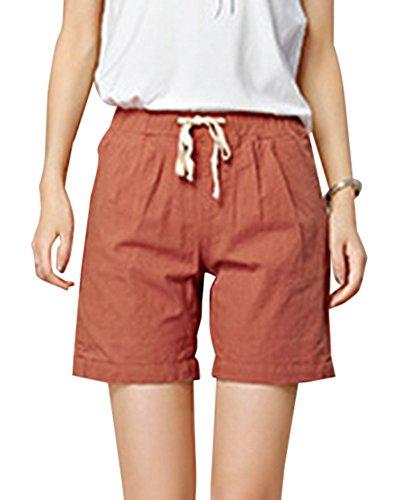 Donne Pantaloni Short Casual Pantaloni Corti Sciolto Sport Yoga Pantaloncini Ruggine Rosso